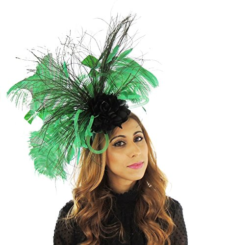 Hats By Cressida Ladies Wedding Races Ascot Derby Fascinator Headband Peacock Jade Green Black by Hats By Cressida