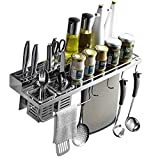 MOTONG 304 Stainless Steel Wall Mounted Kitchen Cabinet Organizer Storage Stand Holder Shelf For Knife, Slice, Spoon, Duster Cloth, Cutting Board, Cruet