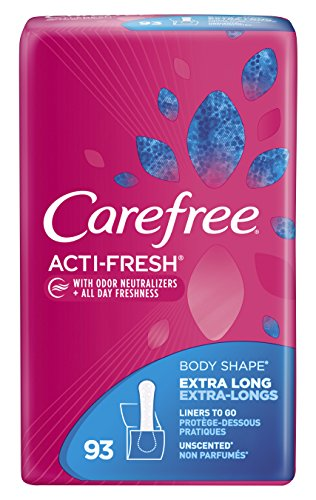 Carefree Acti-Fresh Body Shape Pantiliners Extra Long Unscented - 93 - Panty Carefree Liners Body Shape
