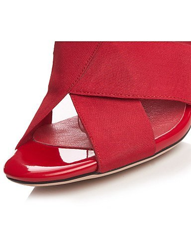ShangYi Womens Shoes Silk Chunky Heel Heels / Peep Toe / Ankle Strap / Round Toe Sandals Outdoor / Office & Career Black / Red Red