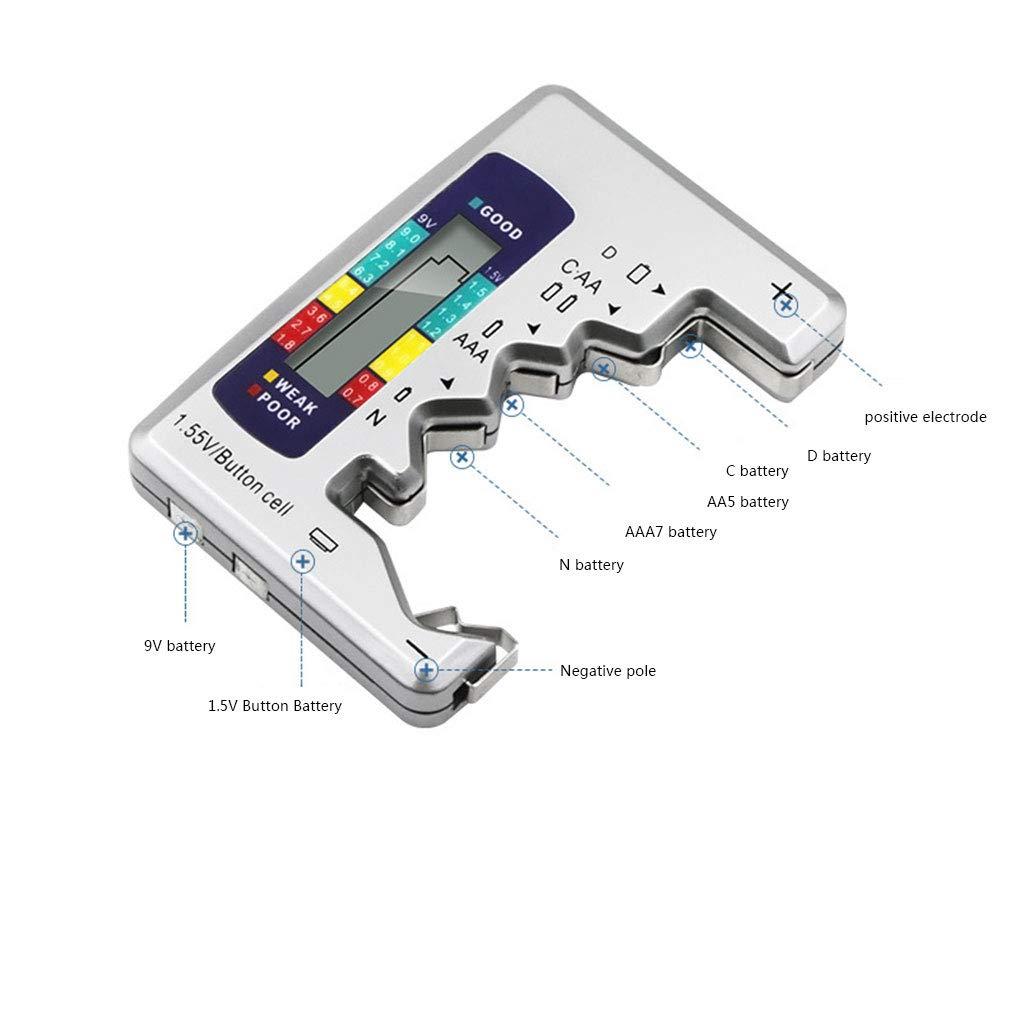 Pegcdu Digital Battery Tester Battery Capacity Checker C//D//N//9V//AA//AAA//1.5V Battery Power Measuring Instrument