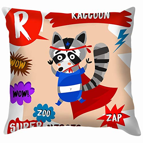 Super Big Set Cute Zoo Animals Wildlife Alphabet The Arts Throw Pillow Case Cushion Cover Pillowcase Watercolor for Couch 26X26 Inch -