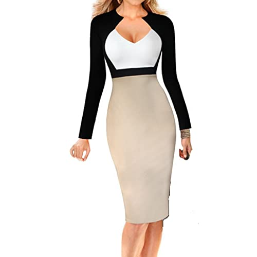 Women's Casual Long Sleeve Patchwork Pencil Mini Dress Plus Size