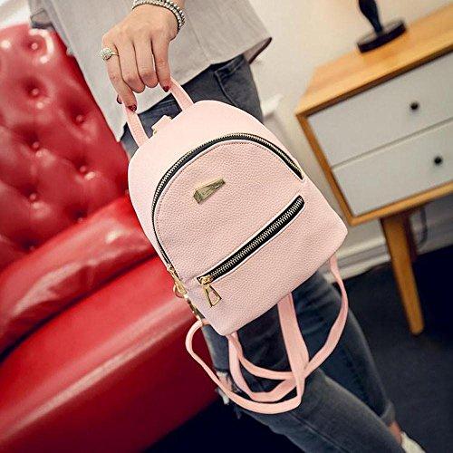Donna Borsa Scuola Pu Zaino Donna Stile 12cm In 19 kword Messenger Tracolla Pelle Viaggio Rosa 17 wAqdIq