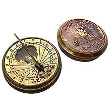 Global Art World Vintage Style The Lord Kelvin (1824 - 1907) Antique Marine Time Art Décor Heavy Brass & Copper Sundial With Calendar Inbuilt Pocket Compass SC 03