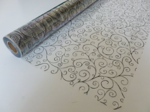 Roll Scroll (15m x 80cm Roll Black Scroll Cellophane Wrap. Florist Quality Bouquet / Gift ...)