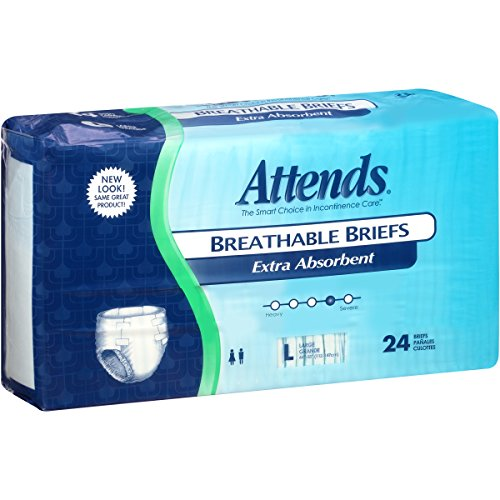 Attends Breathable Briefs with Odor Shield for Adult Incontinence Care, Large, Unisex ,  24 Count (Pack of 3)