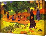 """This 15"""" x 19"""" premium gallery wrapped canvas print of Taperaa Mahana by Paul Gauguin is meticulously created on artist grade canvas utilizing ultra-precision print technology and fade-resistant archival inks. This magnificent canvas print is gallery..."""