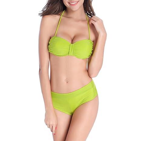TopTie Bikini Set, Push Up acolchado halter sujetador y cintura alta Parte Inferior verde neón