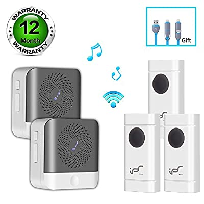 Wireless Doorbell Kit Waterproof Door Chime Operating Long Range 900ft, 52 Chimes 4 Level Adjustable Volume and LED Flash