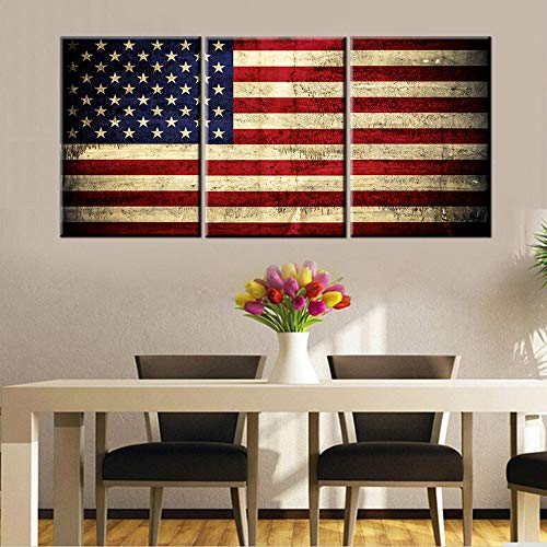 - Native American Decor Red Flags Pictures Patriotic Paintings Stars Stripes Artwork 3 Piece Canvas Wall Art for Home Posters and Prints Framed Stretched Ready to Hang in Living Room(48''Wx24''H)