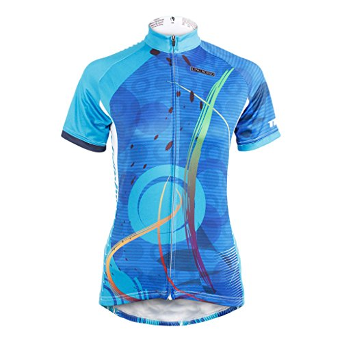 QinYing Women's Short Sleeve Outdoor Bicycle Bike Cycling Jersey Top Blue (Specialized Clothes Bike)