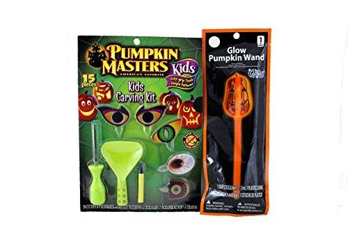 Kids Halloween Pumpkin Carving Kit 2 Piece Bundle: One Pumpkin Master's 15 Piece Carving Kit and Large Pumpkin Shaped Glow Stick