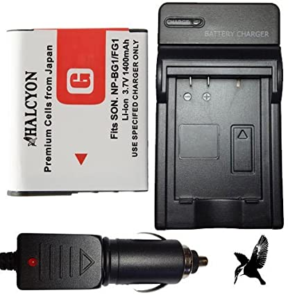 Halcyon 1400 mAH Lithium Ion Replacement Battery and Charger Kit for Sony Cyber-Shot DSC-H70 16.1 MP Digital Camera and Sony NP-BG1