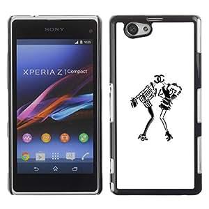 PC/Aluminum Funda Carcasa protectora para Sony Xperia Z1 Compact D5503 white black design fashion dress / JUSTGO PHONE PROTECTOR