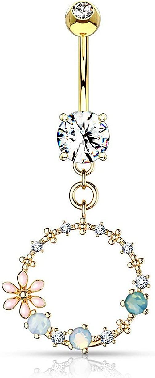 Forbidden Body Jewelry Surgical Steel Fancy Dangle Belly Button Ring with Flower, CZ and Opalite Detail