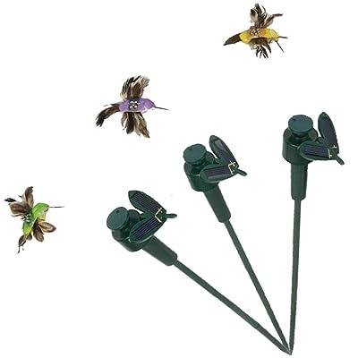 SAGUARO Pack of 3 Solar/Battery Powered Flying Wobble Fluttering Hummingbird Bird for Garden Yard Plants Flowers Patio Landscape Outside Decor Color Random : Garden & Outdoor