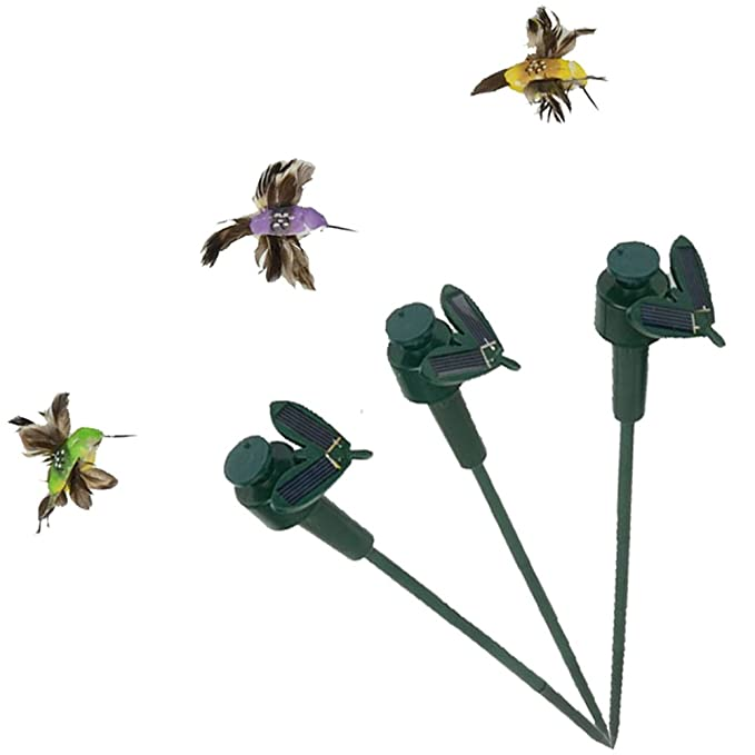 SAGUARO Pack of 3 Solar/Battery Powered Flying Wobble Fluttering Hummingbird Bird for Garden Yard Plants Flowers Patio Landscape Outside Decor Color Random
