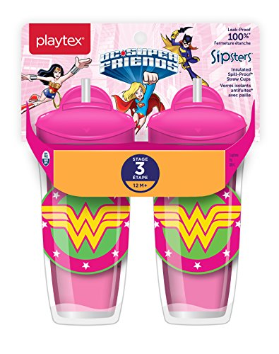 (Playtex Sipsters Stage 3 DC Super Friends Wonder Woman Spill-Proof, Leak-Proof, Break-Proof Insulated Toddler Straw Sippy Cups - 9 Ounce - 2 Count)