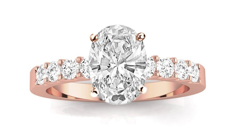 14K Rose Gold 1.3 CTW Classic Prong Set Diamond Engagement Ring w/ 0.75 Ct GIA Certified Oval Cut K Color SI1-SI2 Clarity Center