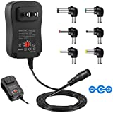 Universal AC Adapter, YOFUNTLE 30W Multi Voltage Switching Power Adapter with 6 Selectable Tips and 5V2.1A USB Port for 3V to 12V Household Electronics Routers Speakers CCTV Cameras