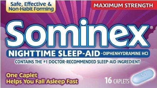 Sominex Nighttime Sleep-Aid Caplets, Maximum Strength, 16 ea (Pack of 12)