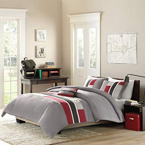 4pc Full Queen Grey Red Striped Comforter Set, Vibrant Colorful Bedding Boys, Geometric Pattern Gray Rugby Stripes, Modern Circuit Design, Rectangle Blocks Patchwork White Black
