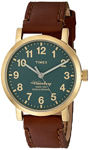 (Timex Men's 'The Waterbury' Quartz Stainless Steel and Leather Dress Watch, Color: Brown (Model: TW2P58900ZA))