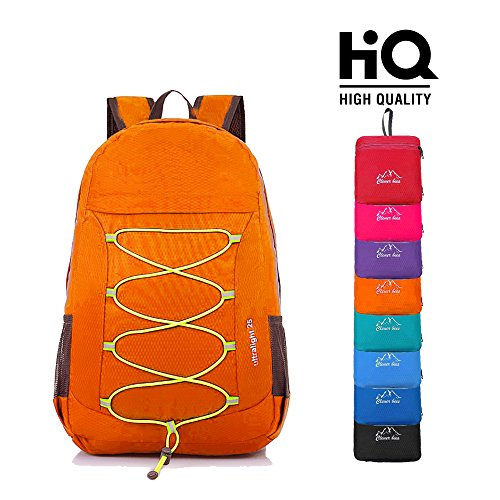 CLEVER BEES Outdoor Water Resistant Hiking Backpack, Orange