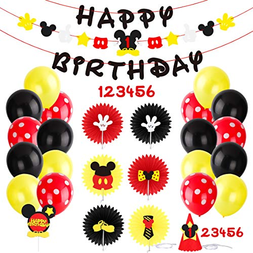 PANTIDE Mickey Mouse Party Supplies Clubhouse Birthday Decorations Kit - Mickey Mouse Birthday Banner Garland,Round Paper Fans,Colorful Balloons,Party Hat and Cake Topper for Kids Age 1-6]()
