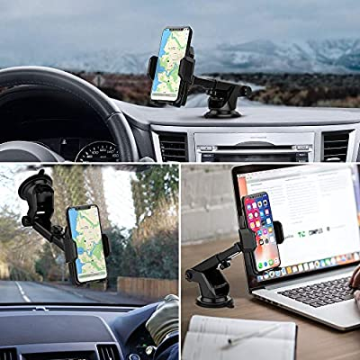 Car Phone Mount Holder, Quntis Universal Car Cell Phone Holder for Dashboard Windshield with Sticky Pad, Easy Button Release, Extendable Arm Fit for iPhone Samsung Galaxy Google LG (2.36