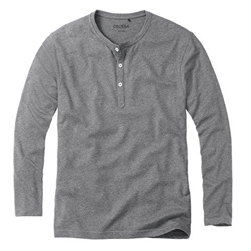 CECEBA Herren Shirt 1/1 A. m.Knopfl. LW PURE-light greymelange Gr. 48/S 60% Baumwolle/ 40% Micro-Polyester 30654-5667