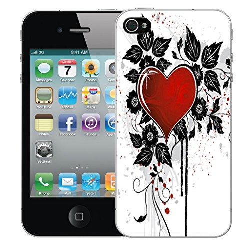 Mobile Case Mate iPhone 4s Silicone Coque couverture case cover Pare-chocs + STYLET - Red Cupid Heart pattern (SILICON)