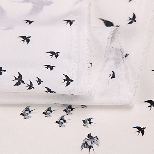 White 100% Pure Silk Crepe De Chine Fabric with Swallow Print By The Yard, 53