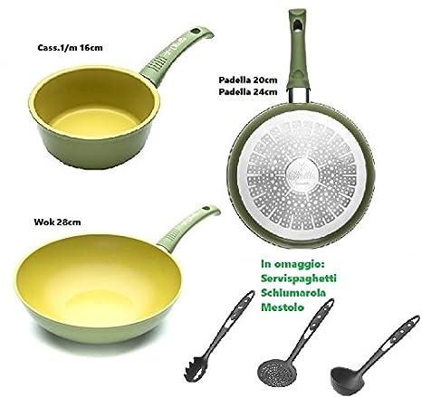 Illa Juego de sartenes antiadherentes al Aceite de Oliva 100% Made in Italy olivilla Cocina. 4 Unidades + 3 Unidades: Amazon.es: Hogar