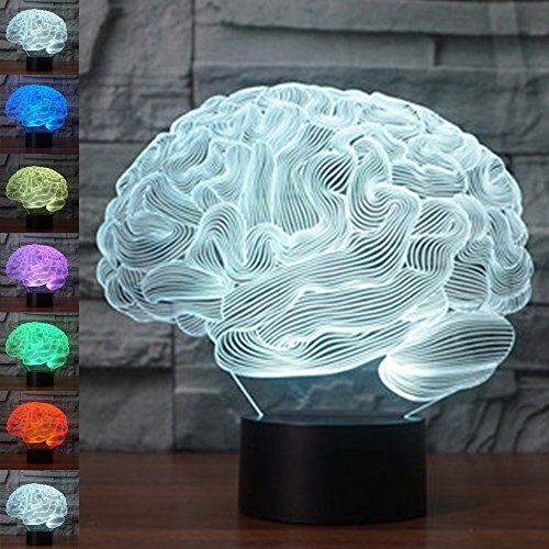 Acrylic Table One Lamp Light (Brain 3D Illusion Birthday Gift Night Light, Gawell 7 Color Changing Touch Switch Table Desk Decoration Lamps Mother's Day Present with Acrylic Flat & ABS Base & USB Cable Toy for Brain Lover)
