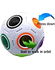 FC MXBB 2.5 inches Fidget Ball Intelligence Rainbow Magic Ball Cube 3D Puzzle Football Design Fidget Toy