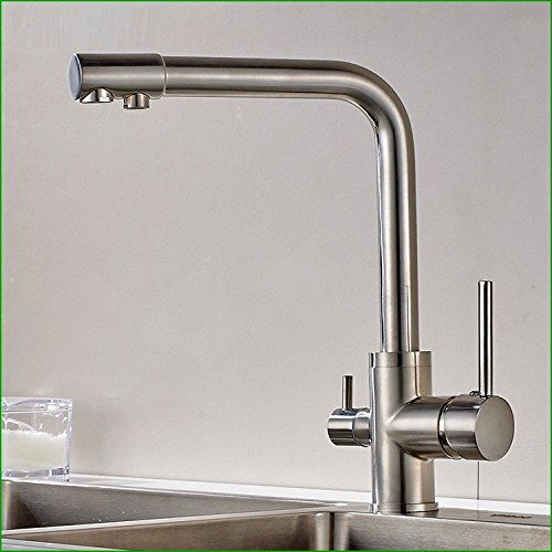 Bijjaladeva Antique Bathroom Sink Vessel Faucet Basin Mixer Tap The copper-nickel brushed two dual-head kitchen faucet sink kitchen sink hot and cold-water mix wrench