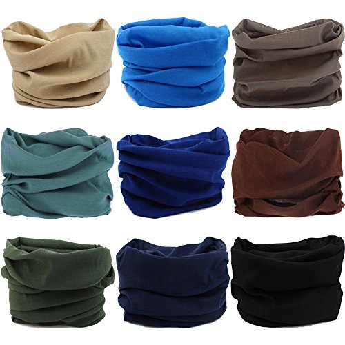 Multifunctional Stretchable Sport & Casual Headwear, Headband Scarf Bandanna Headwrap Mask Neckwarmer & More 12-in-1, 9PC.Solid Color Series.2