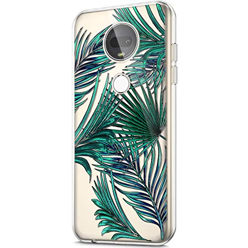 (ikasus Case for Moto G7 Plus,Crystal Clear Art Panited Design Soft & Flexible TPU Ultra-Thin Transparent Soft Rubber Gel TPU Protective Case Cover for Moto G7 Plus Silicone Case,Green Coconut leaf)