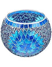 Mobestech Glass Candle Holder Mosaic Style Votive Candle Tea Light Holders Creative Candlestick Desktop Ornament for Wedding Home Without Candle