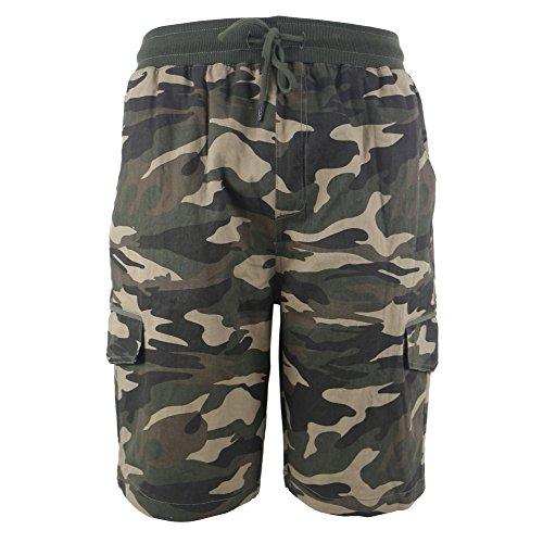 096a664499 Leehanton Men's Soft 100% Cotton Twill Cargo Shorts Elastic Waist ...