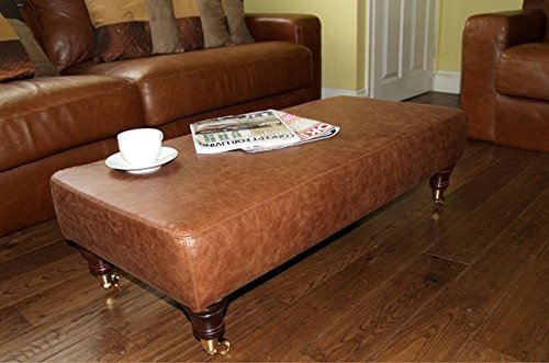 Luxury Long Footstool Hand Crafted in Aged Rust Brown Leather - Designed as a Coffee Table or Foot Rest in Your Living Room by Footstools2u