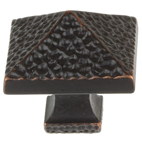 "GlideRite Hardware 1.125 inch 5432-ORB-50 Hammered Pyramid Cabinet Knobs, 50 Pack, 1.125"", Oil Rubbed Bronze, Finish"