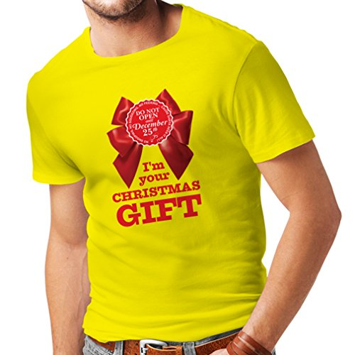T Shirts for Men Ideas from Santa, Xmas Holiday Outfits (Small Yellow Multi -