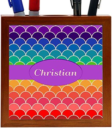 Rikki Knight Christian Name on Rainbow Scallop Design 5-Inch Tile Wooden Tile Pen Holder (RK-PH45595)