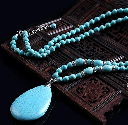 - Pinjewelry Fantastic Necklaces High Porcelain Blue Turquoise Vintage Ethnic Wind Drop Necklace