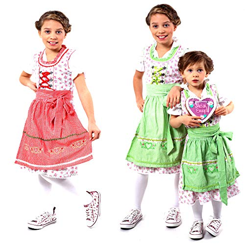 (Authentic German/Bavarian 3 PCS. Dirndl Trachten Outfit for Girls in Red and Grey Size)