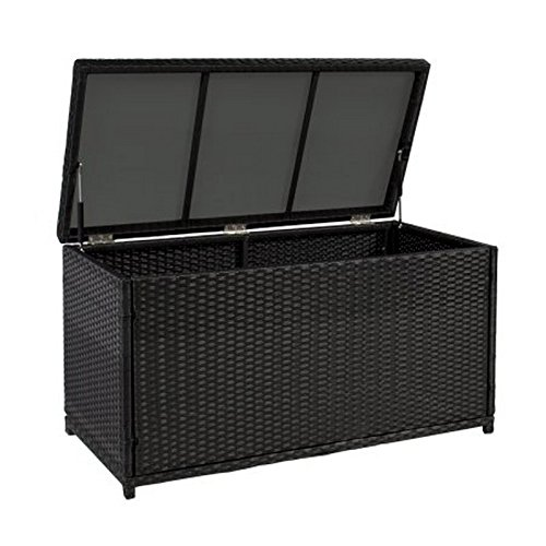 Wicker Deck Storage Box Weather-Proof Outdoor Patio Furniture Durable Sun-Resistant Black by Rattan Boxes (Image #2)