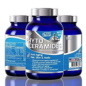 Best Phytoceramides For Anti Aging with Vitamin A, C and D - Best Supplement for Anti Aging Skin, Hair, Nails Rejuvenation - All Natural Rice Based Ceramides - Gluten Free - 40mg - 30 Day Supply